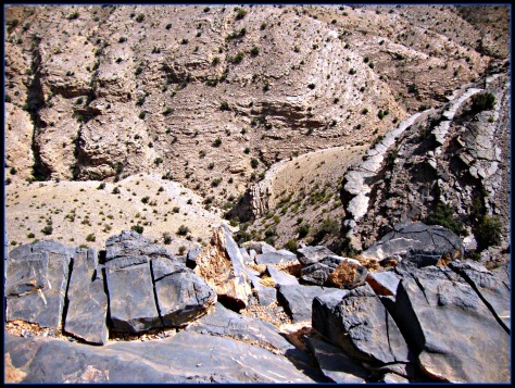 Stones  are all over.Barren grey limestone rocks.Hard to imagine how old they are.Al Jabal Al Akhdar is a huge anticline flanked by hard limestones of Jurassic to Cretaceous age.